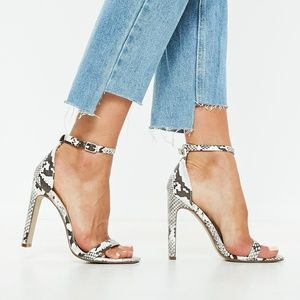Missguided Snake Print Illusion Barely There Heels